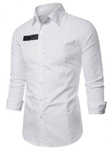 D-ring Patch Button Up Long Sleeve Shirt