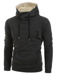 Letter Embroidery Long-sleeved Pocket Hoodie -