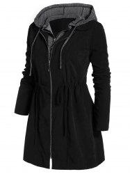 Plus Size Marled Panel Hooded Tunic Coat -