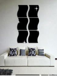 6 Pcs Wave Edge 3D Mirror Wall Stickers -
