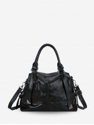 Solid Leather Simple Style Handbag -