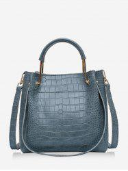 Embossed Solid Casual Handbag -