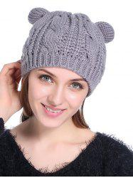 Cat Ear Elastic Braid Knitted Hat -