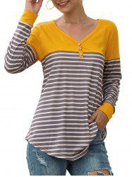 Button Embellished Longline Striped T-shirt -
