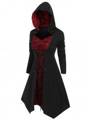 Plus Size Halloween Hooded Skull Lace Insert Lace Up Tee -