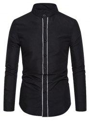 Stand Collar Contrast Piped Button Up Shirt -