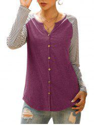 Raglan Sleeve Striped Button Up Top -