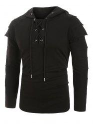 Layered Sleeve Lace-up Front Hoodie -