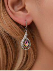 Water Drop Shape Zircon Decorated Dangle Earrings -