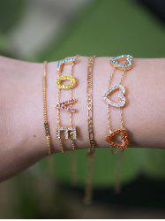 Rhinestone Love Heart Bracelet Set -