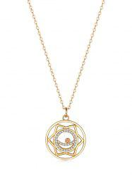 Hollow Geometric Zircon Round Pendant Necklace -