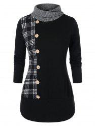Plus Size Button Long Sleeve Checked Panel Sweatshirt -