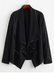 Plus Size Open Front Zippered Draped Jacket -