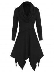 Long Sleeve Cowl Neck Ruffle Handkerchief Sweater Dress -