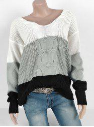 Colorblock Cable Knit Chunky Loose Sweater -