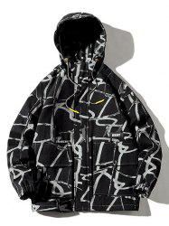 Plus Size Abstract Print Front Pocket Letter Applique Hooded Utility Jacket -