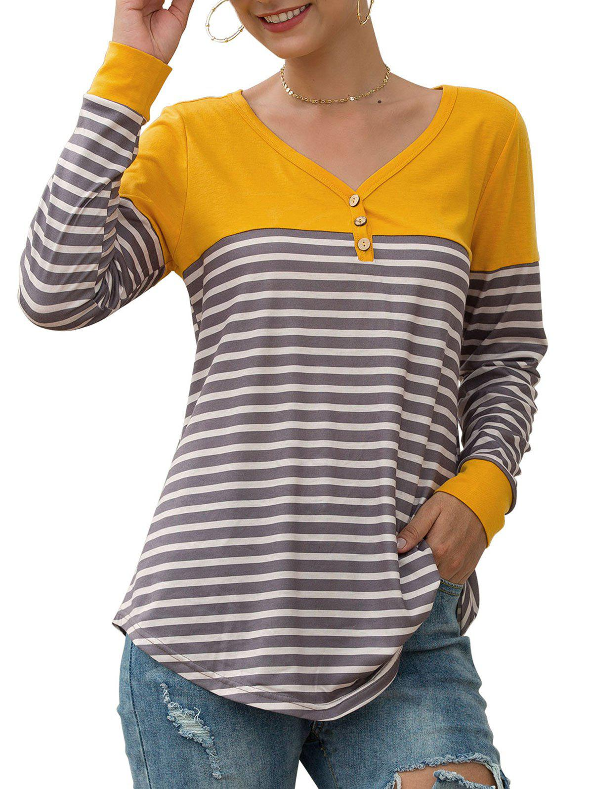 Fancy Button Embellished Longline Striped T-shirt