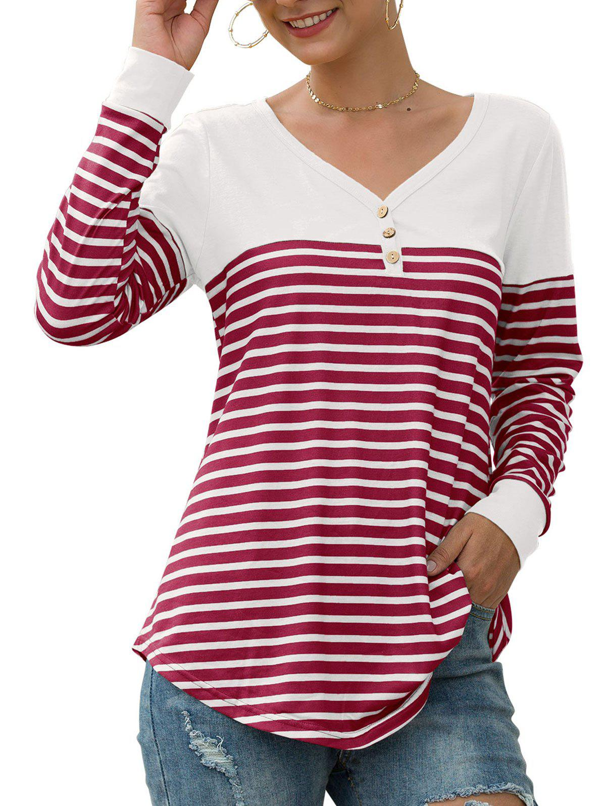Best Button Embellished Longline Striped T-shirt