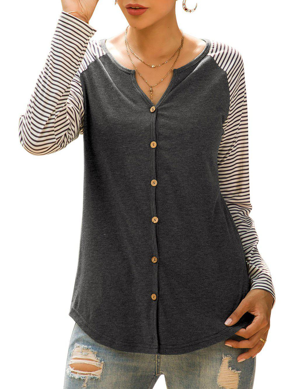 Affordable Raglan Sleeve Striped Button Up Top
