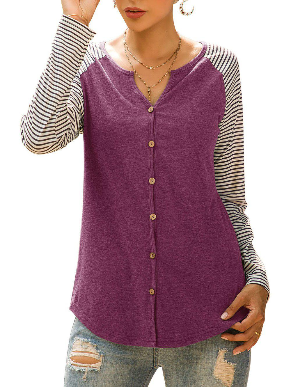 Buy Raglan Sleeve Striped Button Up Top