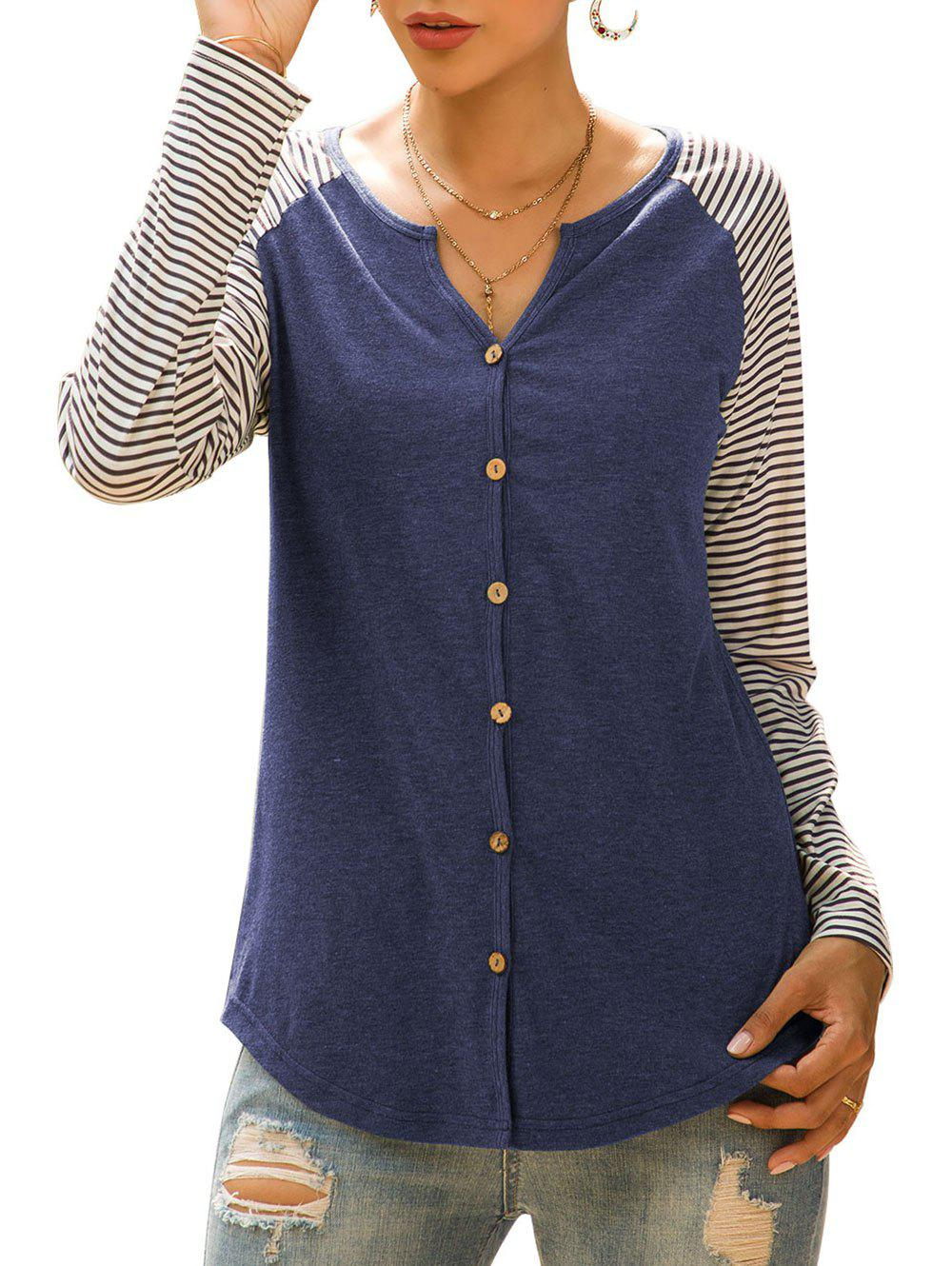 Chic Raglan Sleeve Striped Button Up Top