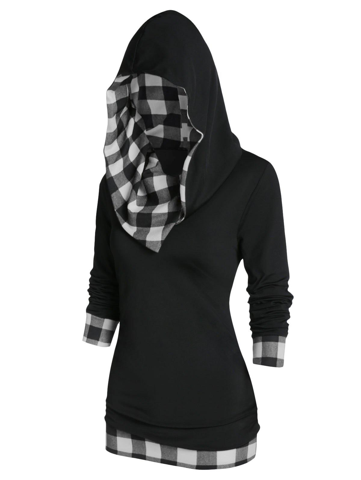 Online Plaid Panel Hooded Tunic T Shirt