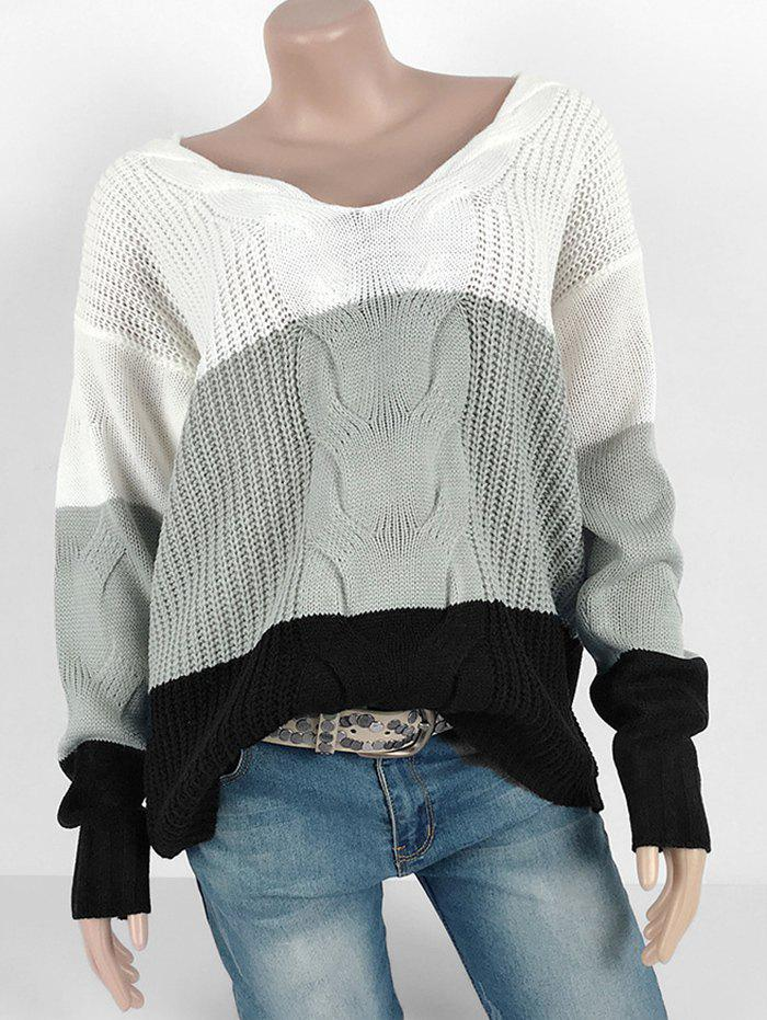 Shops Colorblock Cable Knit Chunky Loose Sweater