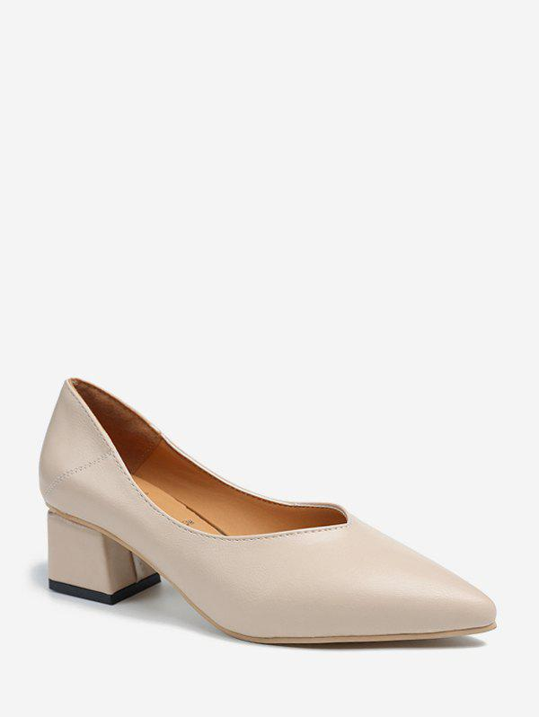 Online Plain Pointed Toe Mid Heel Pumps