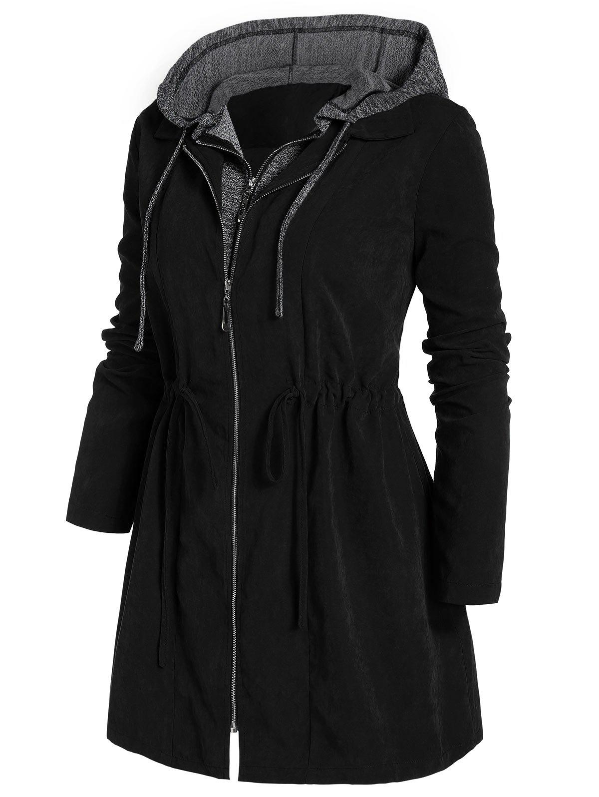 Outfits Plus Size Marled Panel Hooded Tunic Coat