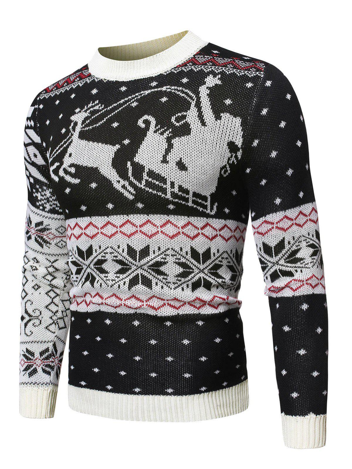 Sale Wapiti Pattern Christmas Pullover Sweater