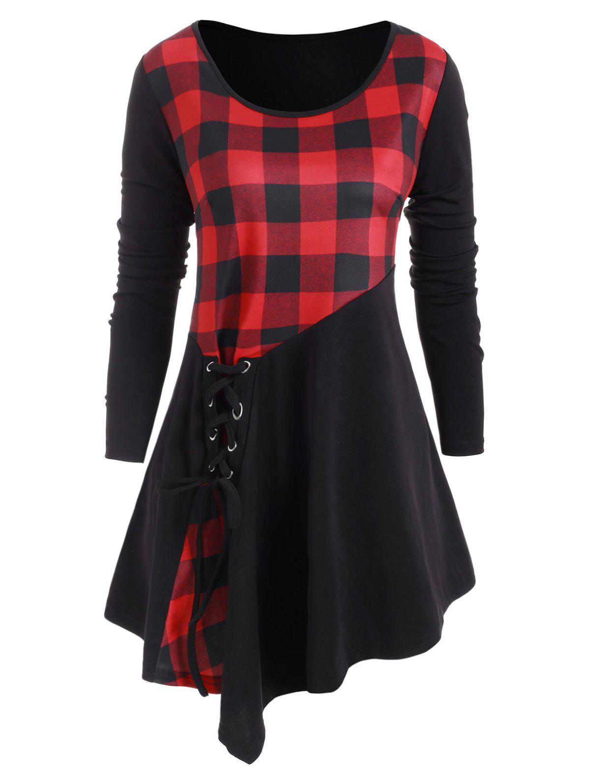 Outfit Plus Size Asymmetric Lace Up Plaid T Shirt