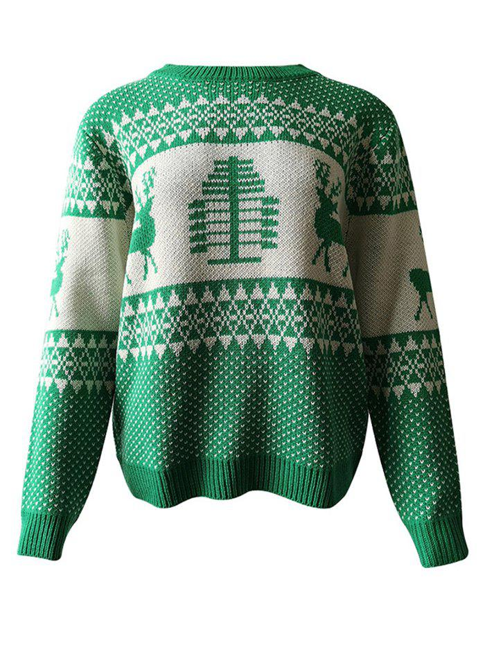 Store Reindeer Graphic Christmas Pullover Sweater