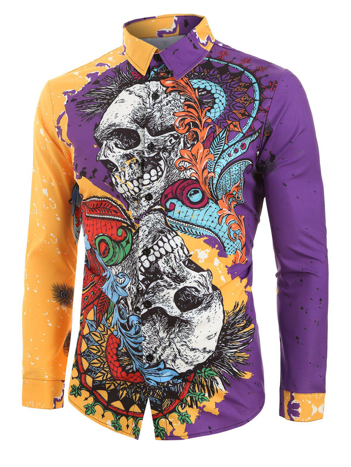 New Floral Skull Painting Spliced Halloween Button Shirt