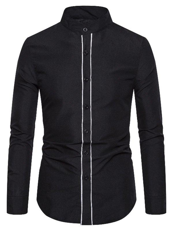 Cheap Stand Collar Contrast Piped Button Up Shirt