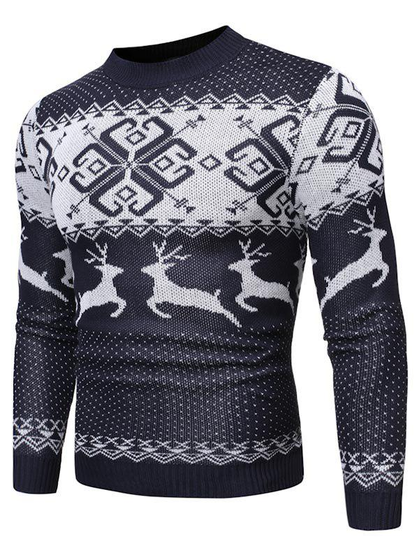 Affordable Christmas Wapiti Pattern Pullover Sweater