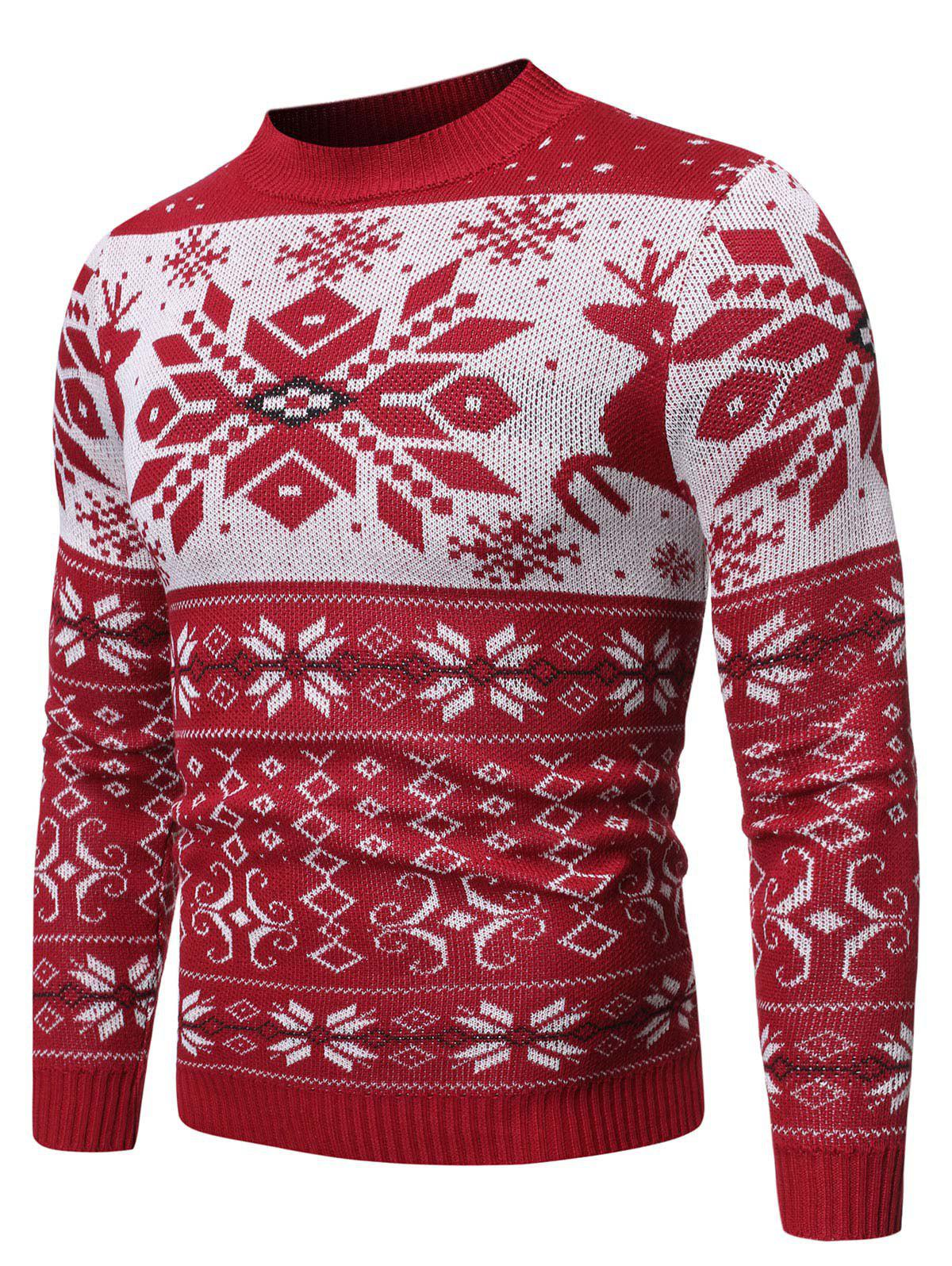 Cheap Christmas Rhombus Pattern Round Neck Sweater