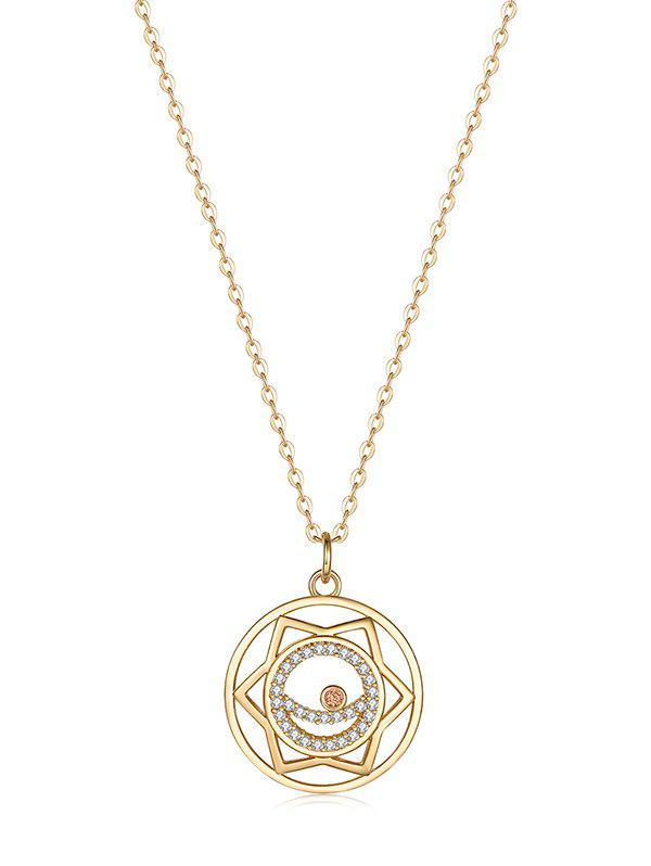 Shops Hollow Geometric Zircon Round Pendant Necklace