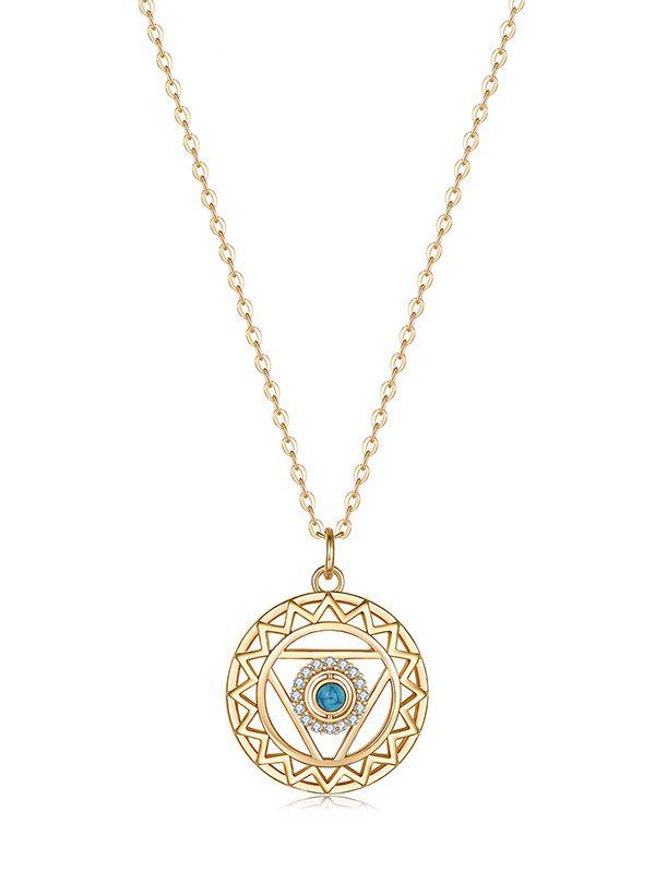 Outfit Hollow Geometric Zircon Round Pendant Necklace