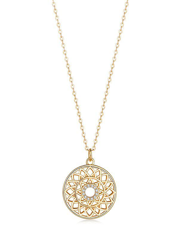 Affordable Hollow Geometric Zircon Round Pendant Necklace