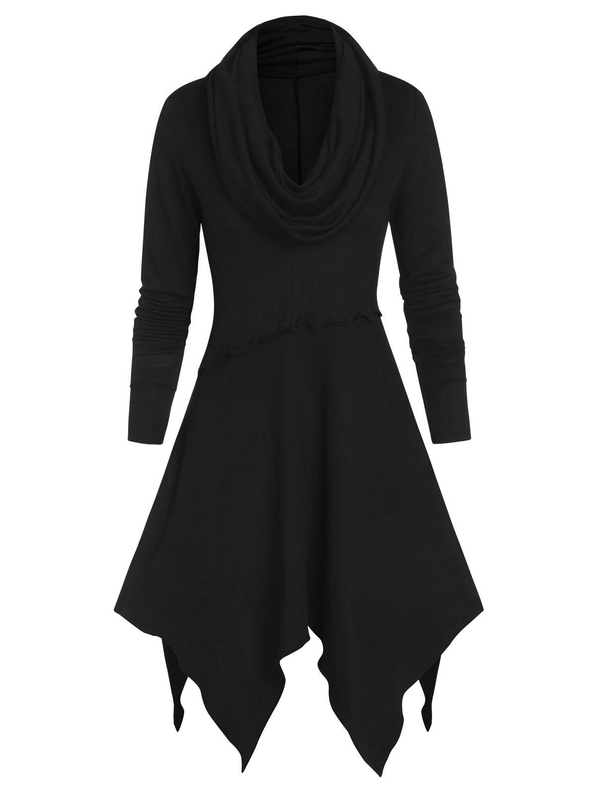 Shops Long Sleeve Cowl Neck Ruffle Handkerchief Sweater Dress