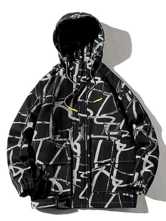 Shop Plus Size Abstract Print Front Pocket Letter Applique Hooded Utility Jacket