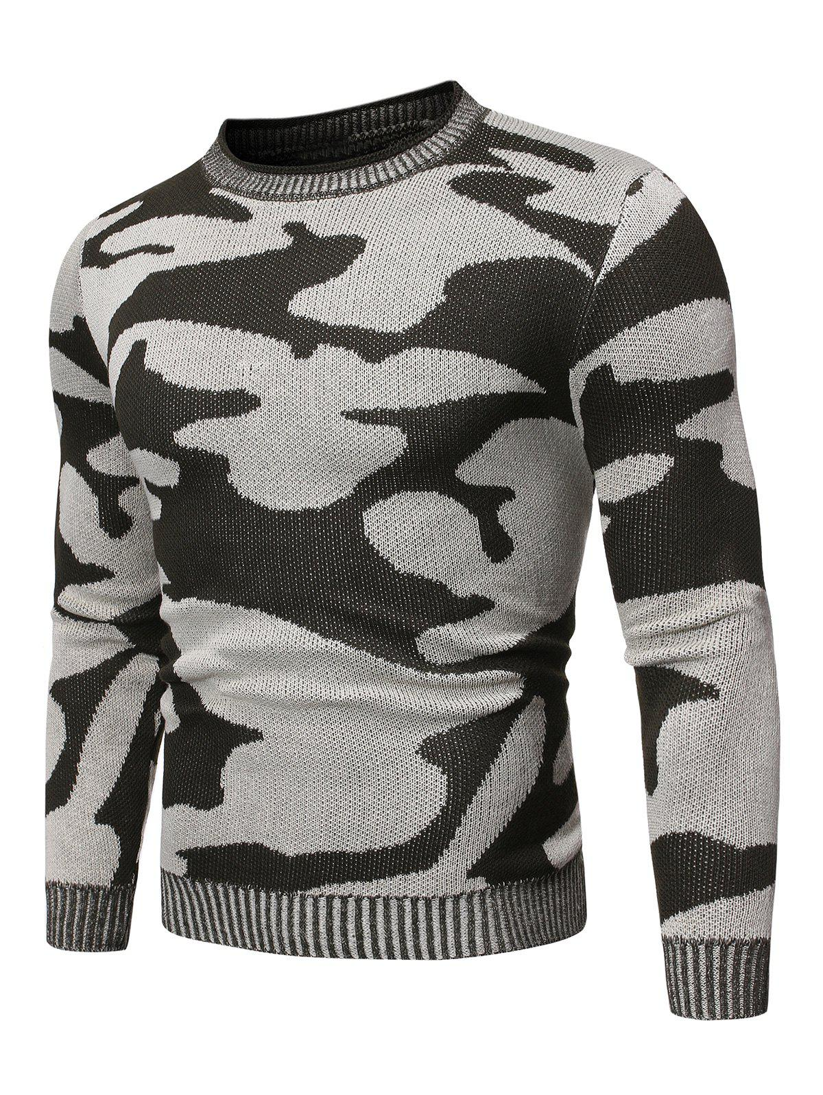 Chic Camo Pattern Long Sleeves Sweater