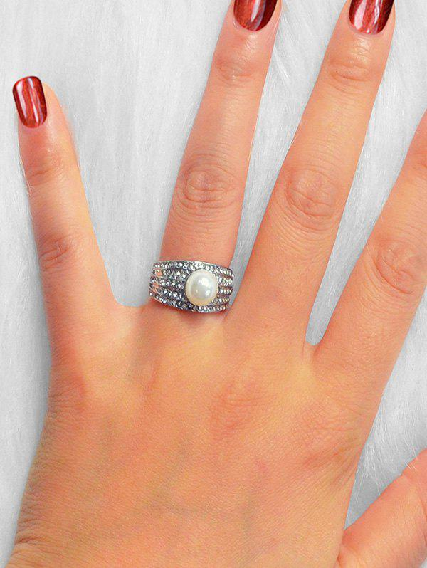 Fancy Faux Pearl Micro Pave Rhinestone Ring