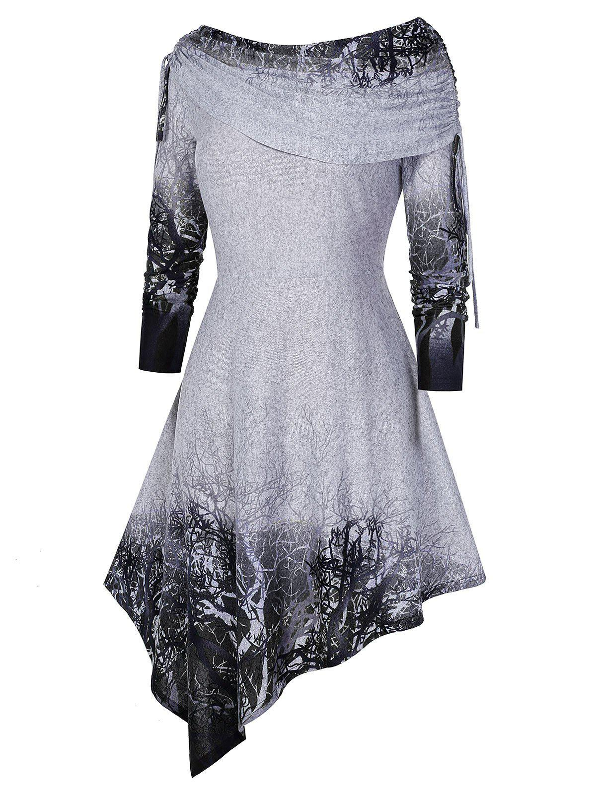 Fancy Plus Size Cinched Tree Print Asymmetric Dress