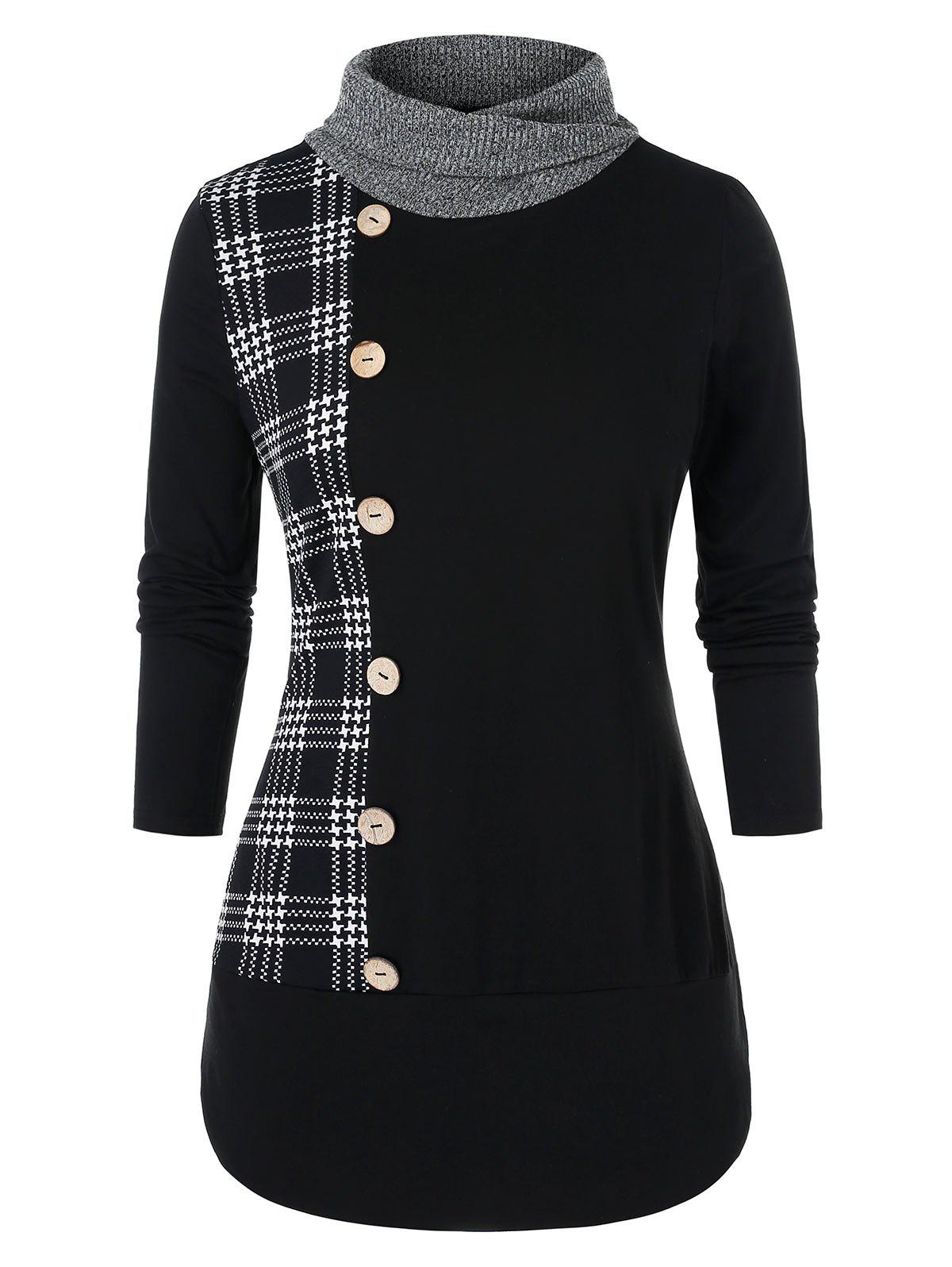 Trendy Plus Size Button Long Sleeve Checked Panel Sweatshirt