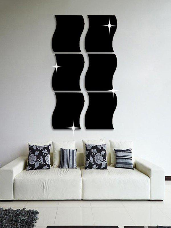Discount 6 Pcs Wave Edge 3D Mirror Wall Stickers