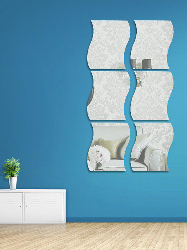 Outfits 6 Pcs Wave Edge 3D Mirror Wall Stickers