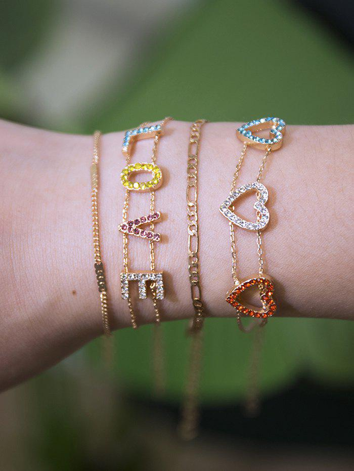 Best Rhinestone Love Heart Bracelet Set