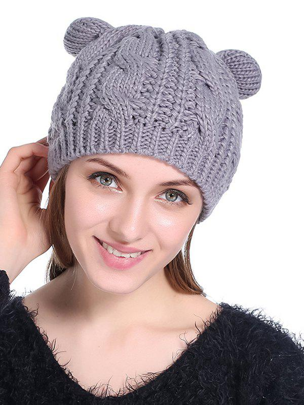 Buy Cat Ear Elastic Braid Knitted Hat