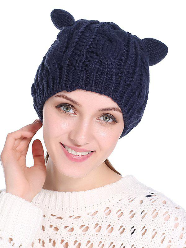 New Cat Ear Elastic Braid Knitted Hat